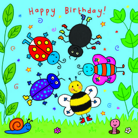 Children's  Birthday Card Spinner - Bugs